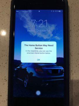 iPhone 7, tasto Home rotto e messaggio d'errore